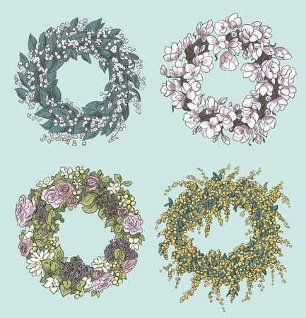 set di corone eleganti disegni fiori decorazione floreale illustrazione vettoriale