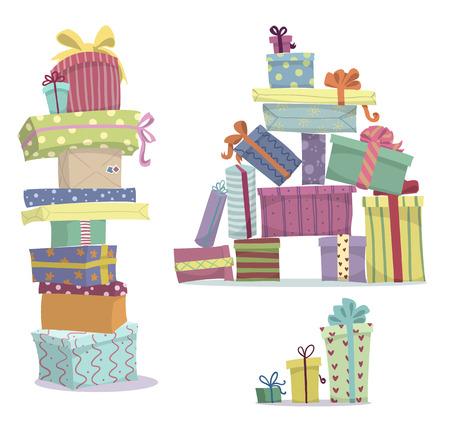 プレゼントの山は、ギフト用の箱の積み重ねを落書き  イラスト・ベクター素材