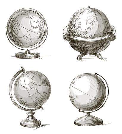 Set of hand drawn globes  Vector illustration  Ilustração