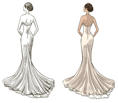 white dress: Bride  Beautiful young girl in a wedding dress  Long dress with a tail  Black and withe and color variants   Illustration