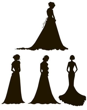 fiatal nők: fiatal nők hosszú ruha sziluettek Menyasszony Vázlat vektoros illusztráció