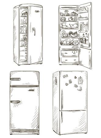 set of four hand drawn fridges  open fridge with healthy food  Vector illustration