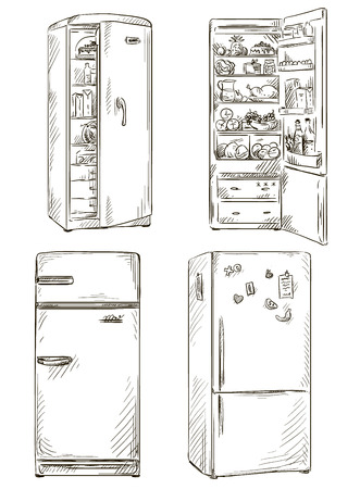 set of four hand drawn fridges  open fridge with healthy food  Vector illustration