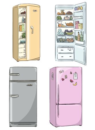 set of four hand drawn cartoon fridges  open fridge with healthy food  Vector illustration  Illustration