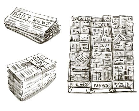 periódicos: Presione Quiosco dibuja ilustración vectorial Mano Newsstand Vectores