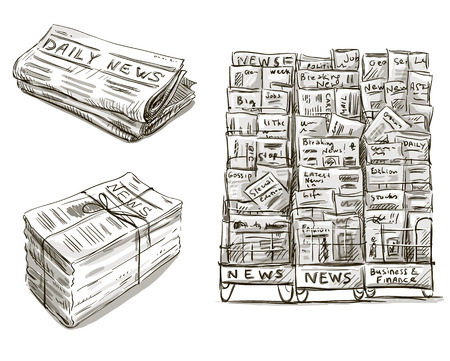 newspaper articles: Press  Newspaper stand  Newsstand  Vector illustration  Hand drawn