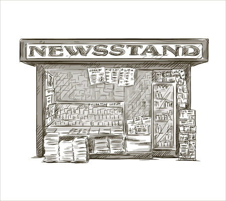 pile of newspapers: Newsstand  Hand drawn press kiosk  vector illustration
