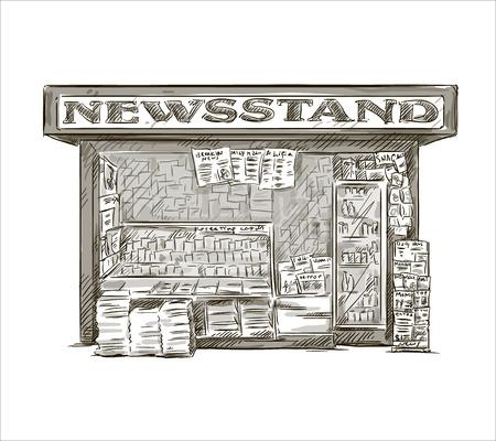 Newsstand Hand getrokken druk kiosk vector illustratie