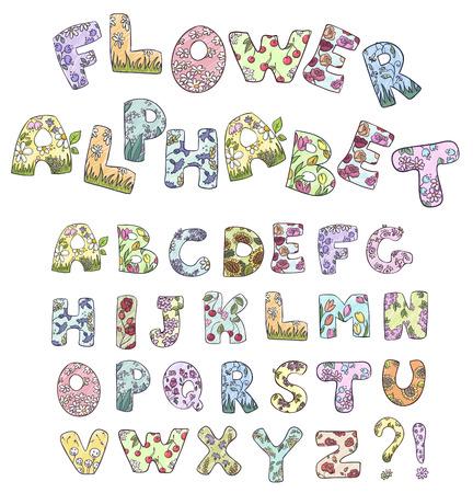 english rose: Cartoon flower alphabet  Vector illustration   Illustration