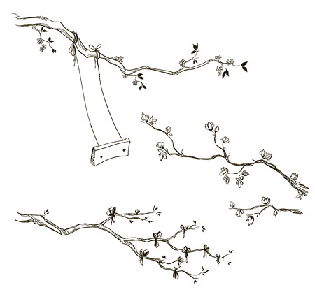 Set of doodle tree branches. Branch with a swing. Vector sketch.