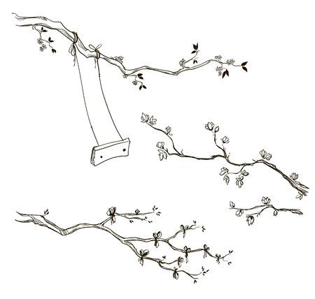 Set von doodle Ästen. Zweig mit einer Schaukel. Vektor-Skizze.