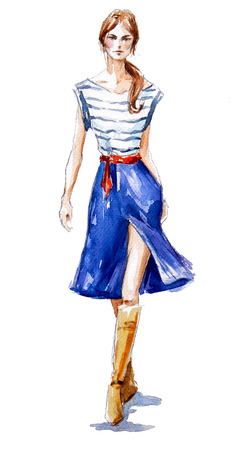 jeans skirt: street fashion. fashion illustration of a girl walking. Summer look. watercolor painting. hand painted.
