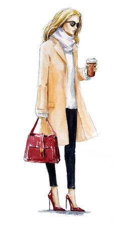 스트리트 패션. 코트에 금발 소녀의 패션 일러스트 레이 션. 가을 모습입니다. 수채화 그림. 손으로 그린.