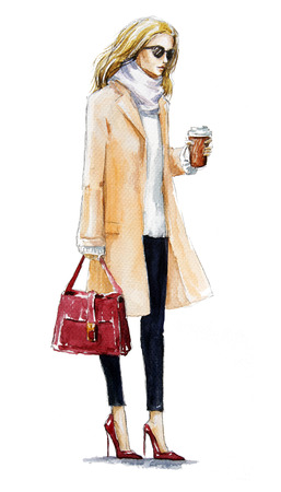 street fashion. fashion illustration of a blond girl in a coat. Autumn look. watercolor painting. hand painted.