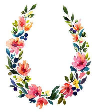 손 수채화 화환을 그렸다. 꽃 장식. 꽃 무늬 디자인입니다.