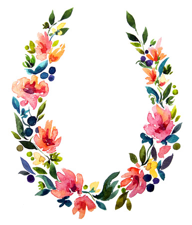hand painted watercolor wreath. Flower decoration. Floral design.         photo
