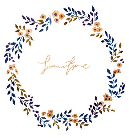 手描きの水彩画の花輪。花の装飾です。花のデザイン。