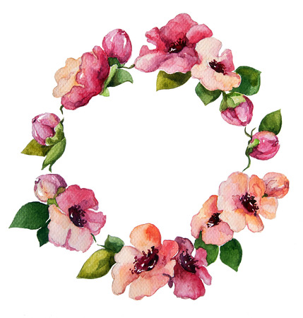 fresh flowers: hand painted watercolor wreath. Flower decoration. Floral design. Stock Photo