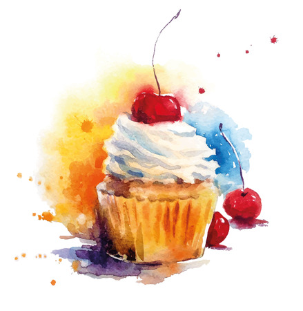 cupcake: Hand painted watercolor cherry muffin. Vector illustration.