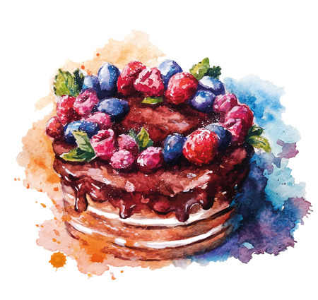 desserts: Hand painted watercolor cake. Vector illustration.