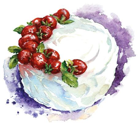 手描きの水彩画のケーキ。ベクトルの図。