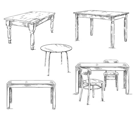 wood table: set of hand drawn tables, vector illustration