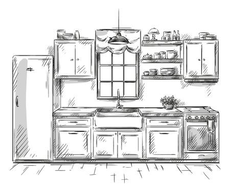 Dibujo interior de la cocina, ilustración vectorial Vectores