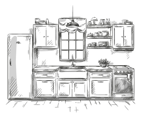 hand drawing: Kitchen interior drawing, vector illustration