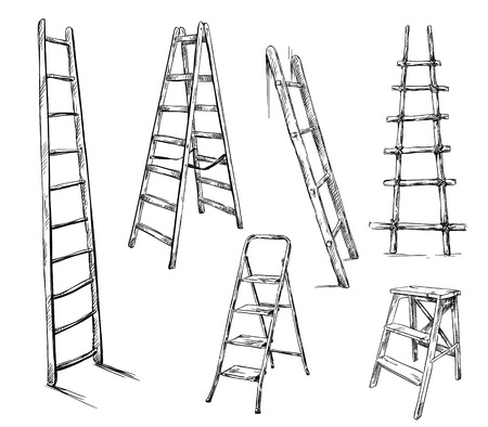 Ladders drawing, vector illustration Иллюстрация