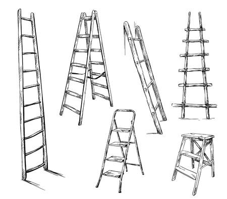 Ladders tekenen, vector illustratie Stock Illustratie