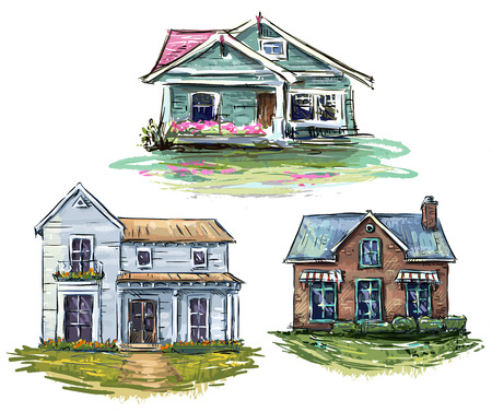 Set of private houses, hand drawn, vector illustration