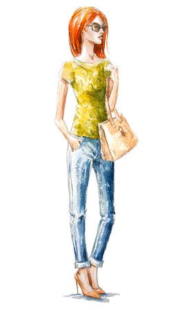 거리 패션. 여름 봐. 수채화 그림. 손으로 그린. 스톡 콘텐츠
