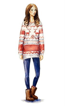 크리스마스 스웨터에서 여자의 수채화 그림. 크리스마스 룩, 패션 일러스트 레이 션입니다.