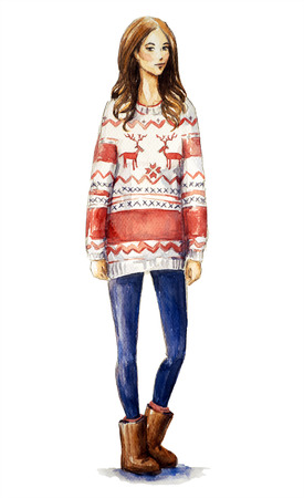 watercolor illustration of a girl in a christmas sweater. Christmas look, Fashion illustration.