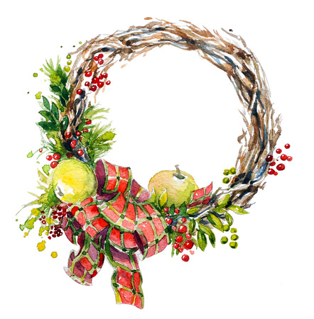 hand painted watercolor wreath. Christmas decoration. photo