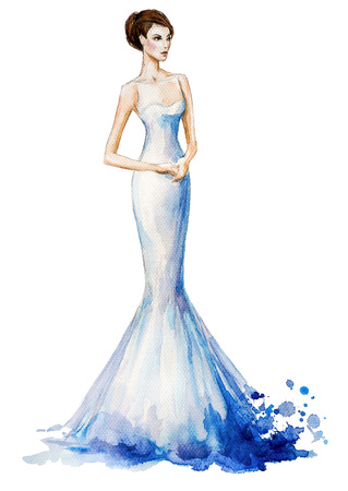 Aquarel mode illustratie, Mooi jong meisje in een lange jurk. Trouwjurk