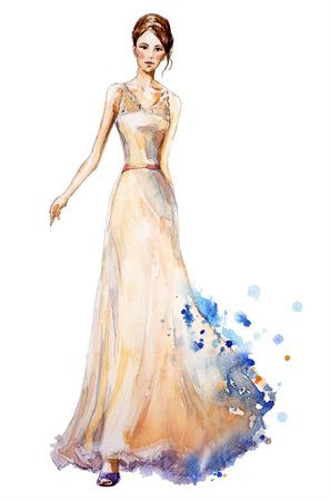 Ilustración de moda de la acuarela, chica joven hermosa con un vestido largo. Vestido de novia