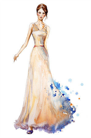 evening dresses: Watercolor fashion illustration, Beautiful young girl in a long dress. Wedding dress