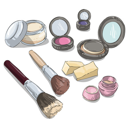 makeup fashion: makeup products drawing. Fashion illustration. Illustration