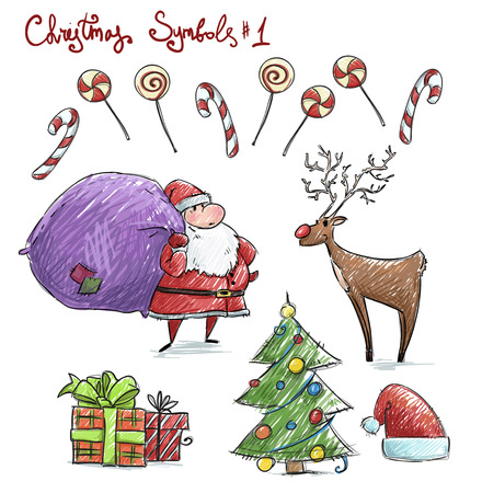 christmas hat: Doodle christmas symbols. Vector illustaration.