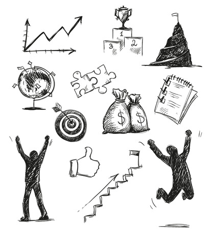 Freehand sketch of success symbols. Success icons. Vector illustration. Vector