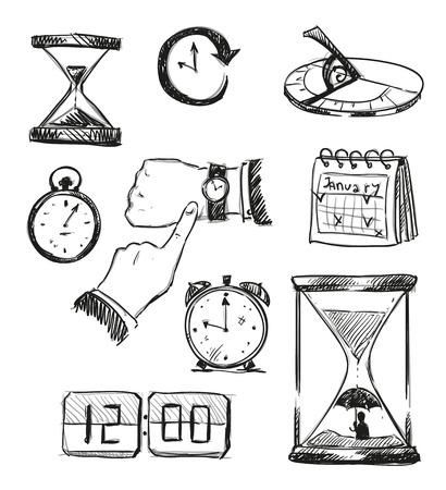 reloj de sol: Boceto a mano alzada de los símbolos de tiempo. Iconos de tiempo. Ilustración del vector.