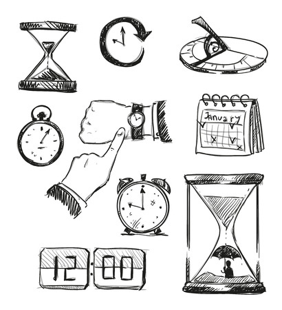 Freehand sketch of time symbols. Time icons. Vector illustration. Иллюстрация