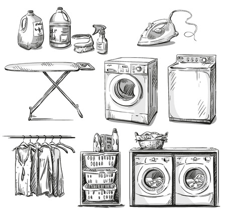 laundry detergent: Big wash. Laundry objects. Vector sketch.