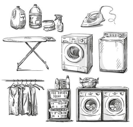 Grote wasbeurt. Wasserij objecten. Vector schets. Stock Illustratie