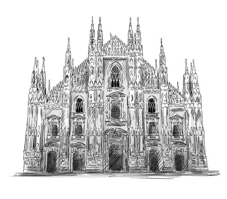 밀라노: 두오모 디 밀라노. 밀라노 대성당. 벡터 스케치. 일러스트