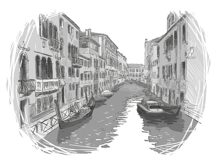 canal: Venice canal vector sketch Illustration