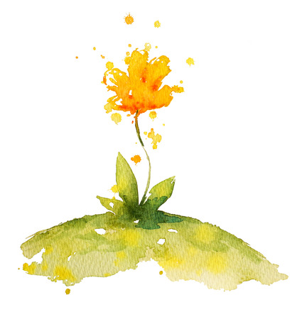 yellow flower: hand painted yellow watercolor flower