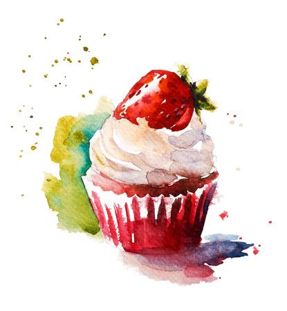 손으로 그린 수채화 딸기 머핀 스톡 콘텐츠