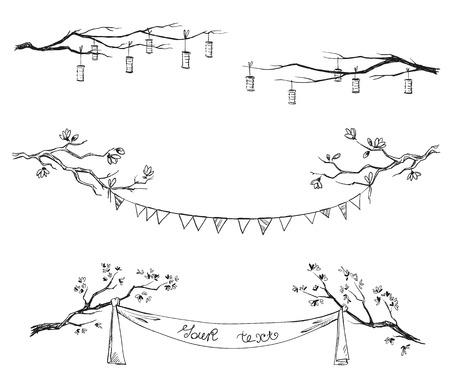Ramas de los árboles del Doodle. Decoraciones. Ilustración del vector. Foto de archivo - 34736968